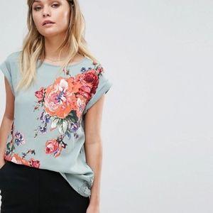 Oasis Rose Printed Lace Hem T-Shirt